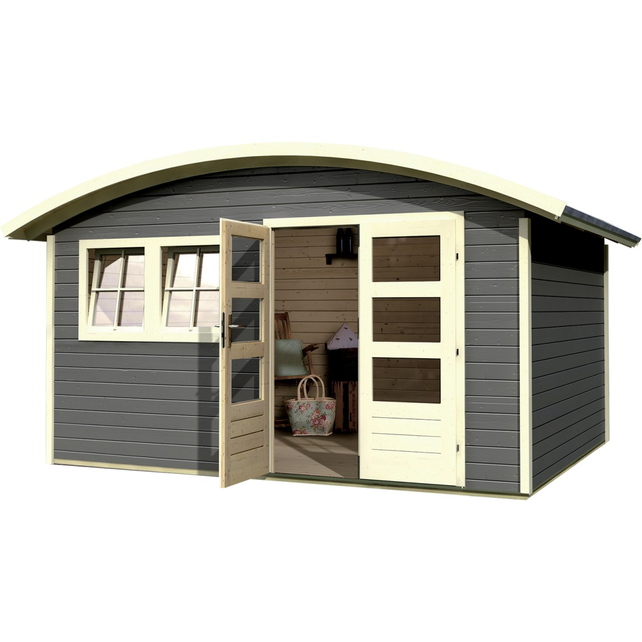 gartenhaus tonnendachhaus friedland 2 terragrau 3 91 x 3 06 m mein schrebergarten. Black Bedroom Furniture Sets. Home Design Ideas