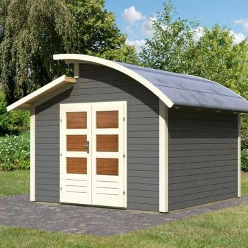 karibu gartenhaus almelo 28 mm grau mein schrebergarten. Black Bedroom Furniture Sets. Home Design Ideas