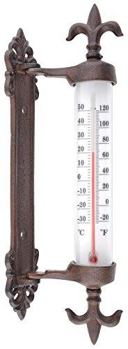 Esschert Design Fensterrahmenthermometer aus Gusseisen, PE, PS und Kerosin, 5,5 x 9,4 x 29,5 cm - 1