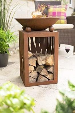 La Hacienda 58265 Ochiba Feuerstelle mit Ständer aus oxidiertem Stahl, Natur rostet, - 1