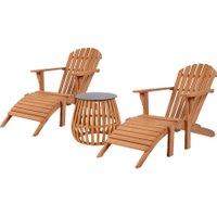 Gartenmöbelgruppe Teak Deckchair Montreal und Beistelltisch Belmont Set