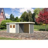 Karibu Gartenhaus/Gerätehaus Raala 4 klassisch Seidengrau 522x209cm + 224cm Anbau+Rückwände