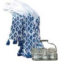 LOBERON Plaid Roye, blau/weiß (130 x 170cm)