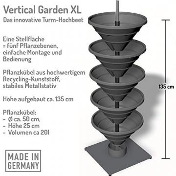 bluegreenshop.de Vertical Garden XL – Turm-Hochbeet/Pflanzturm (Grau) - 9